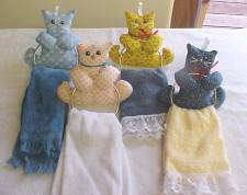 Kitty towel holders, checkbook covers, quilted bags, etc.